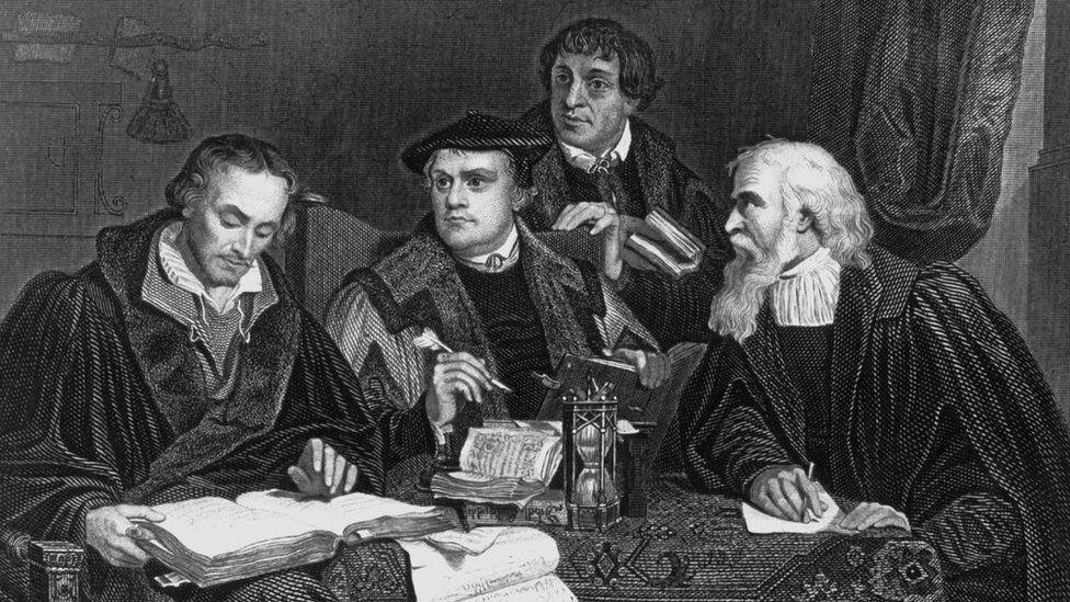 Ранние реформаторы. Второй слева - Мартин Лютер. Гравюра XVIII века